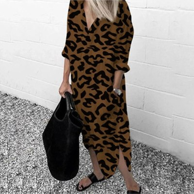 Leopard Long Dress For Women Autumn Thin Long Sleeve V-neck Chiffon Beach Clothes Split Loose Pocket Plus Size Shirt Dress