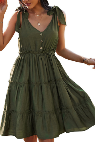 2021 Spring New Sexy Spaghetti Strap Dress Women Casual Sleeveless High Waist Button Dress For Women Solid Color Summer Dress