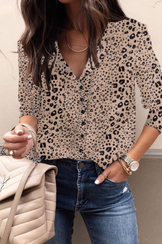 Ladies Spring Summer New 2021 Print Casual Blouse Leopard Button Turn Down Collar Long Sleeve Street Style Blouses