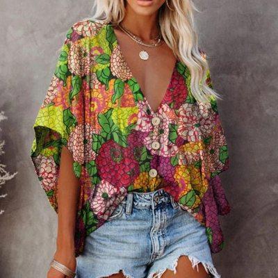 Non-positioning Shirt Vitage Short Sleeve Loose Women Blouse Shirt Printing Button Up Pockets Womens Shirts 2021 Summer Blouses