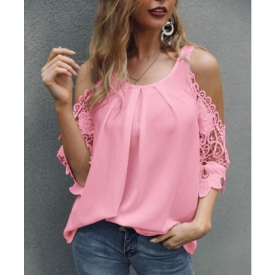 Women Sexy Lace Off Shoulder Chiffon Summer Fashion Casaul Clothes Tops O-neck Short Sleeve Solid Shirt Femme Ruffle Blusa Mujer