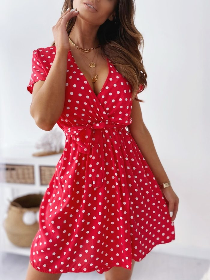 Fashion Women'S Dress 2021 Summer New Wave Point V-Neck Short-Sleeved Slim Dress