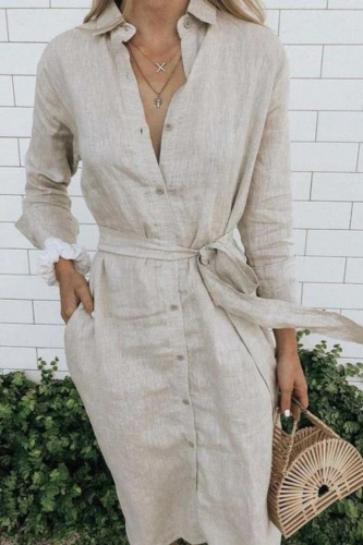 2021 Women Long Sleeve Linen Dress Sashes Button Up Long Shirt Dress Plus Size 5xl Green White Black Casual Robe Chemise Femme