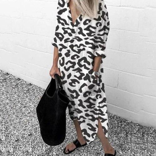 Leopard Long Dress For Women Autumn Thin Long Sleeve V-neck Chiffon Beach Clothes Split Loose Pocket Plus Size Shirt Dress