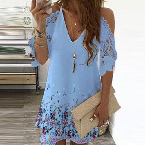 2021 Summer V Neck Floral Print Party Dress Women Spring Half Sleeve Lace Mini Dress Femme Off Shoulder Embroidered A-Line Dress