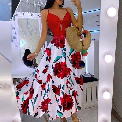 2021 Summer New Women's Dress Sexy Elegant Lace Up Flower Sexy Suspender Women's Dress