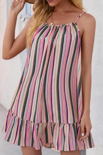Sexy Spaghetti Strap Loose Beach Mini Woman Dress 2021 Summer Stripe Casual Boho Clothing Dresses For Women Robe Femme