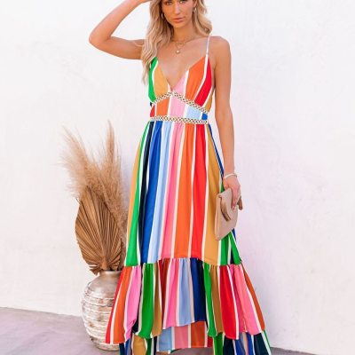 Sexy Deep V Neck Backless Striped Maxi Woman Dress 2021 Summer Party Rainbow Spaghetti Strap Long Dresses For Women Robe Femme