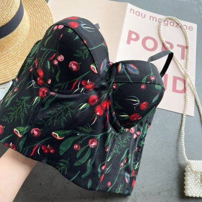 Women New Fashion Wear Camisole Printed Sexy Sleeveless Ropa Para Mujer Short Bustier Corset Crop Tops R835