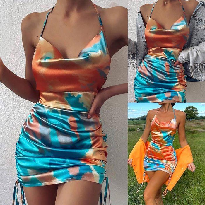 Mini 2021 Top Dresses sexy sleeveless Women's new fashion sexy tie-dye pleated satin sling party dress elegant robe