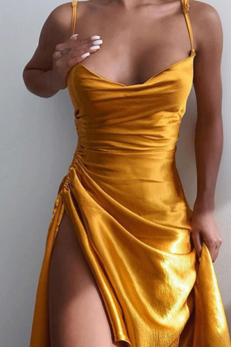 Women Vintage Side Split Bandage Satin Dress Spaghetti Strao Sexy V neck Solid Elegant Casual Mid Dress 2021 Summer New Dress