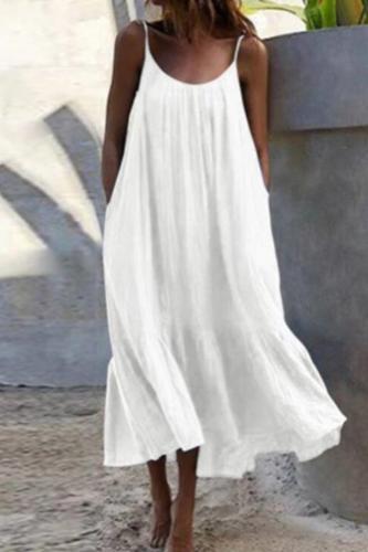 Sexy Spaghetti Strap White Beach Boho Woman Dress 2021 Summer Loose Casual Yellow Maxi Dresses For Women Plus Size Robe Femme