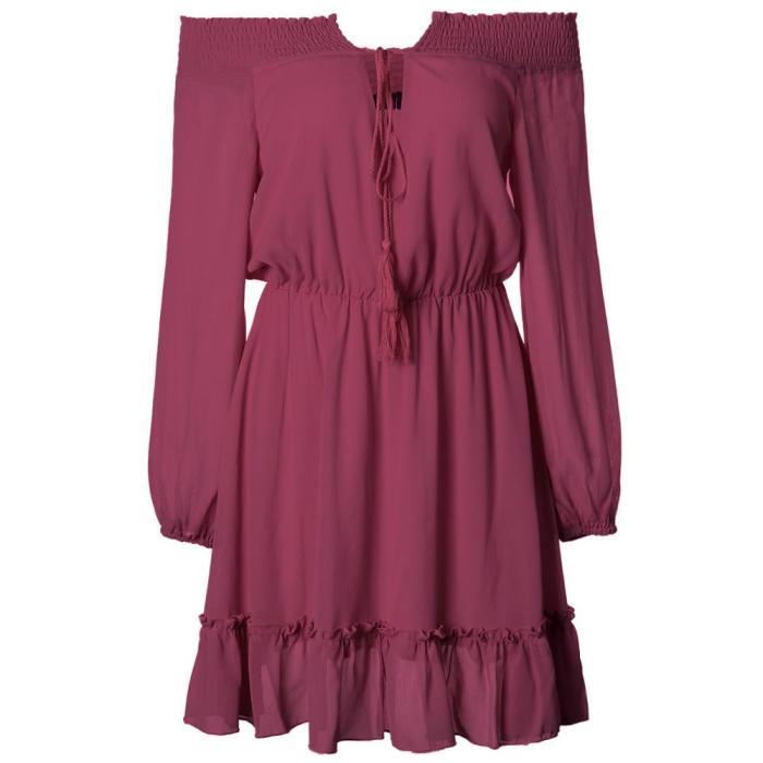 Waist Dress 2021 Spring And Summer New Product Word Shoulder Waist Lantern Sleeves Chiffon Temperament Casual Dress