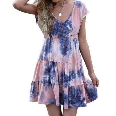 Plus Size Dress Women Fashion Tie Dye Short Sleeve V Neck Floral Print Ruffle Hem Mini Dress Sexy Women Clothing