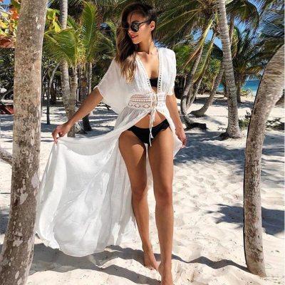 Bikini Cover Up Lace Hollow Crochet Swimsuit Beach Dress Women 2020 Summer Ladies Cover-Ups Bathing Suit Beach Wear Tunic