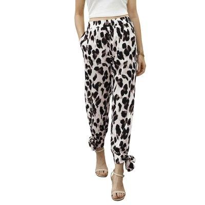 Ladies Leopard Elastic Waist Joggers Sweatpants Lounge Loose Fit Jogger Pants Side Split Workout Trousers with Pocket Pants
