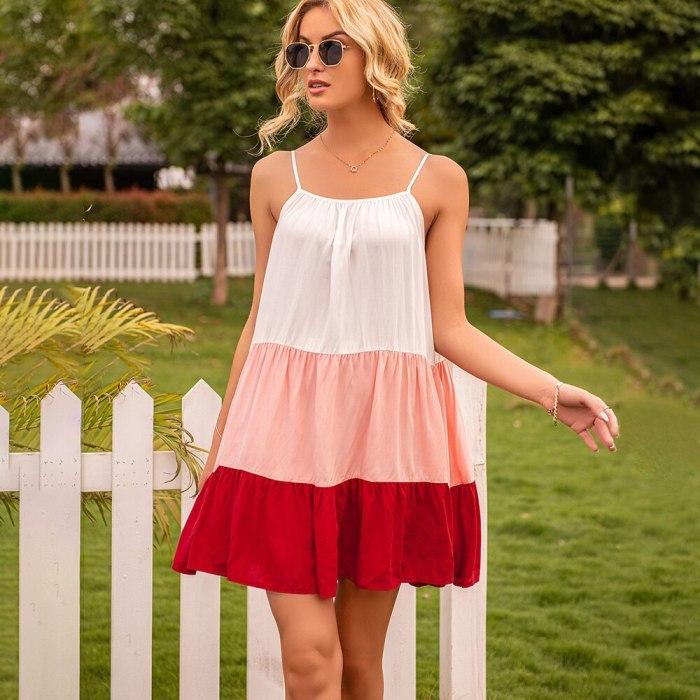 Summer Loose Spaghetti Strap Dress Women Casual Patchwork Ruffles Oversize Sling Dresses 2021 Woman Sexy Sleeveless Beach Dress