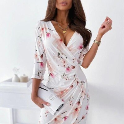 Summer Women's Elegant V-neck Printed Slim Sexy Hip-length Dress With Three-Quarter Sleeves Pleated Flowers Knee-length Dress