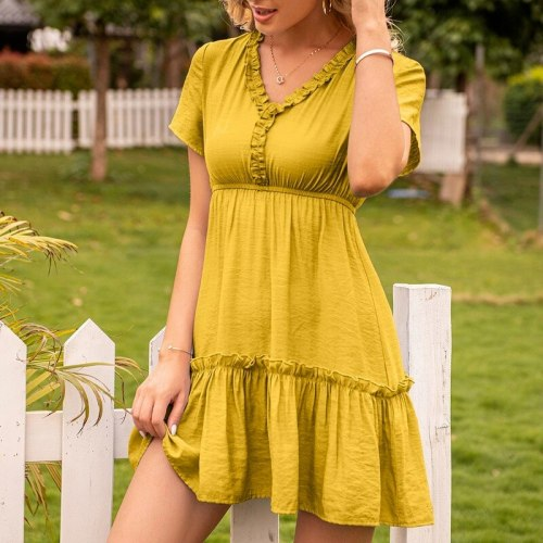 Sexy Ruffle Women Dress V-neck Shorts Sleeve Pleated Dresses Summer A-Line Solid Casual Slim Vintage Dresses Outfits Vestidos