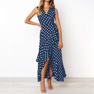 Women Summer Polka-dot Ruffle Tank Sundress Long Dress Robe Plus Size Casual Overall Clothes Sexy Yellow Maxi Dresses for Women
