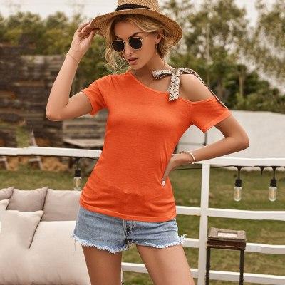 2021 Summer New Casual Slanted Shoulder Strap Short-Sleeved T-Shirt Women Solid Color Slim Pullover Top Camisetas De Mujer Femme
