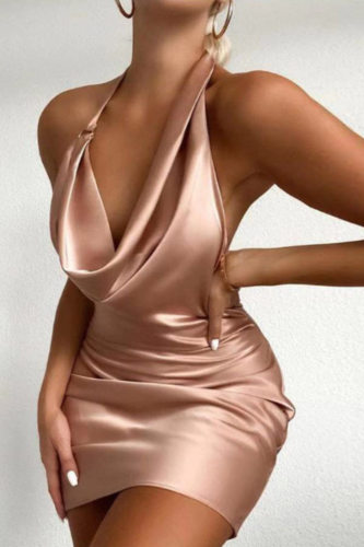 2021 Hot Sell New Summer Women Sexy Halter Deep V-Neck Sheath Sleeveless Backless Party Bodycon Elegant Neck-mounted Dress