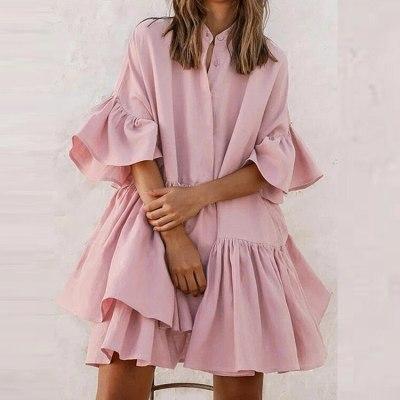 Pink Women Dresses Button Up Stand Collar Half Butterfly Sleeve Shirt Dress Kawaii Sweet Dress for Girls Vestido De Mujer