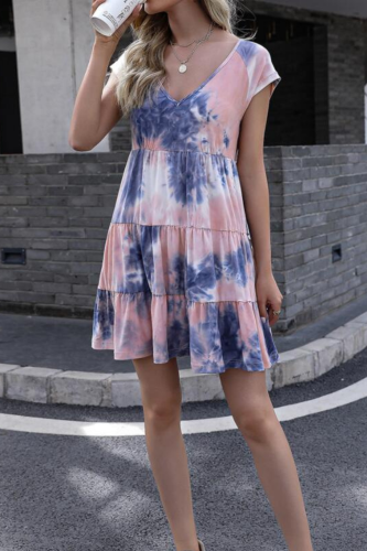 Plus Size Dress Women Fashion Tie Dye Short Sleeve V Neck Floral Print Ruffle Hem Mini Dress Sexy Women Clothing