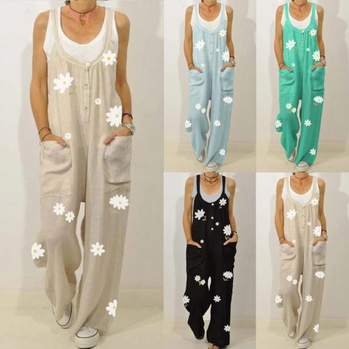 New  Jump Suit Women Casual Floral Print Straps Oversized Bodysuit O-Neck Rompers Pocket Playsuit Long Jumpsuit Dropshipping