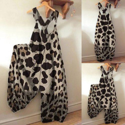 30# Bodysuit Women Leopard Print Romper Women Long Playsuit Strap Button Loose Overalls Jumpsuit Women боди женское