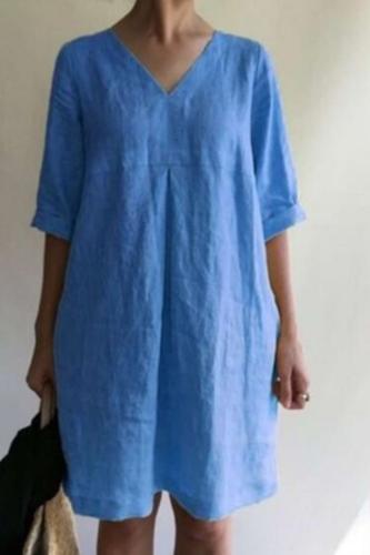 Cotton Linen Dresses Women Vintage Dress Female Casual Loose Short Sleeve Big Size V-neck Dress Vestidos Robe Oversized Sundress