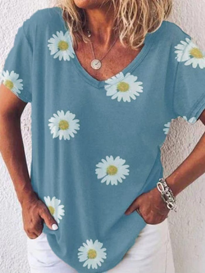 Popular Daisy V-neck Loose Casual Women's Short Sleeve T-shirt 5 Colors 6 Sizes