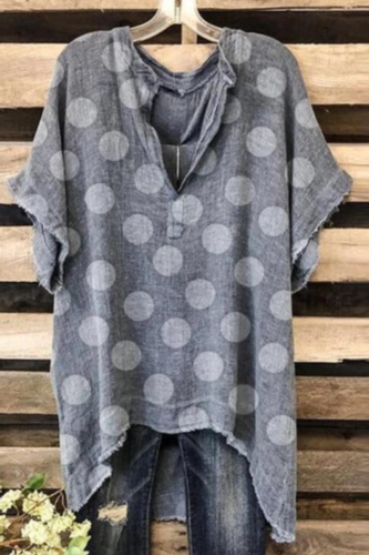 Gray Loose Casual Blouse Women Summer V-Neck Tops Dot Printing V-Neck Plus Size Fashion Blouse Short Sleeve Daily Tunic Tops #j
