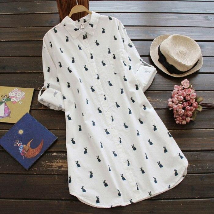 Cotton Rabbit Printed Loose Medium Length Shirt Dress 2020 Autumn Large Women's Dress Homewear Casual Long Shirt Dress