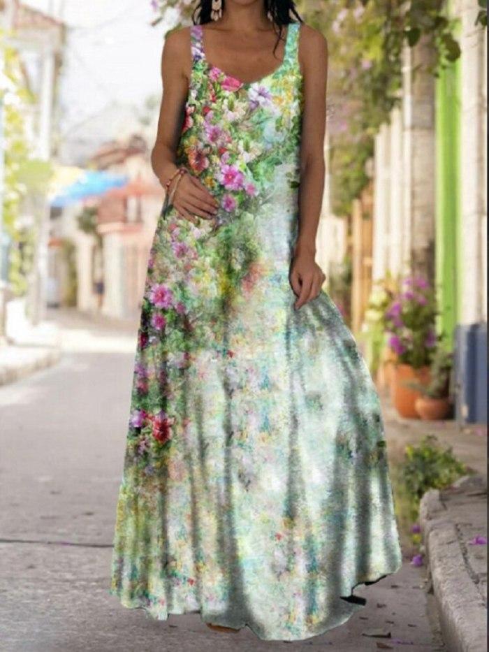 2021 Summer Women Long Maxi Dress Bohemian Suspender Strapless Mop Robe Tie Dye 3D Printed Sleeveless Vestido New Design Female