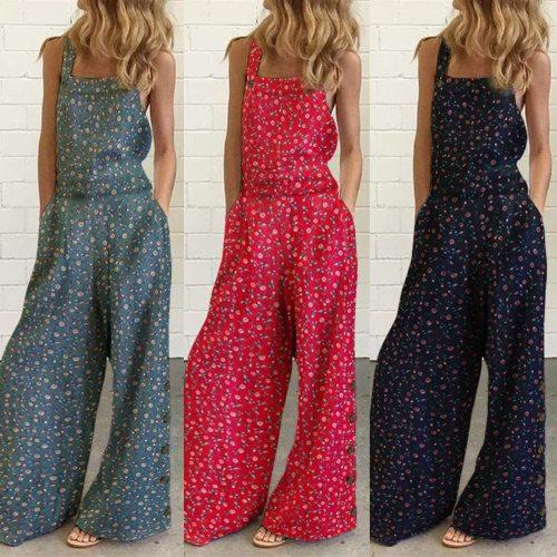 Floral Prints Jumpsuits Women Straps Wide Leg with Pockets playsuit Button Summer Vintage Jumpsuit комбинезон женский