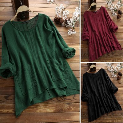 S-5XL cotton linen blouse women plus size tops casual tee shirt long sleeve solid loose summer tops femme big size clothing