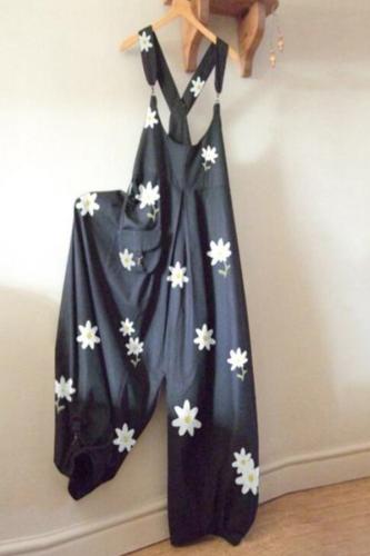 30H Fashion Floral Print  Jump Suit Women O-Neck Daisy bodysuit women Rompers Pocket Playsuit Casual Long Jumpsuit Dropshipping