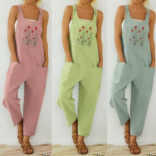 Women Casual Boho Jumpsuit Flower Print Bodysuit Pocket Women Romper Long Playsuit Strap Button Jumpsuit