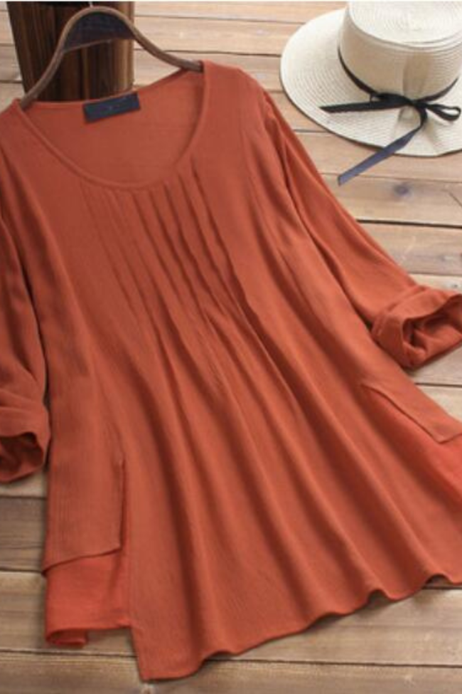 Womens Literary T-shirt Fashion Solid Color Casual Loose Top Autumn Tops Pullover Clothing M-XXXXXL Plus Size Oversize Wholesale