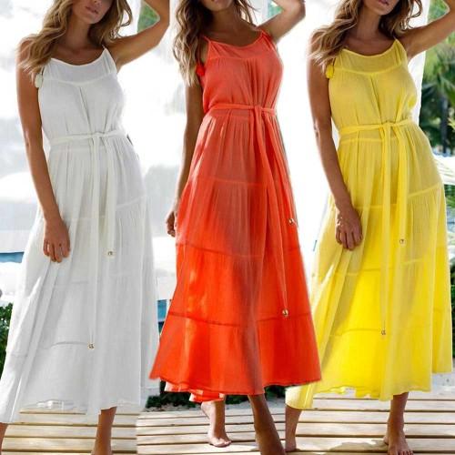 Long Maxi Beach Dress Women Summer Sleeveless Belted Solid Color Spaghetti Strap U-shaped Neck One-piece Vestidos