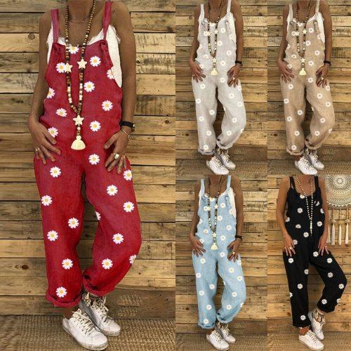Oversized Jumpsuit Women Casual Boho Print Women Romper Long Playsuit Knot Strap Button Bodysuit Jumpsuit Dropshipping