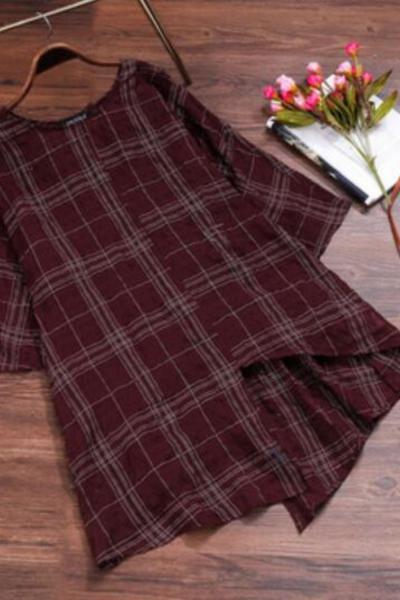 Vintage Large Size Women qi fen xiu Lattice Asymmetric Loose Shirt Blouse Women
