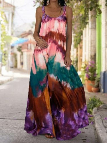 2021 Summer Women Long Maxi Dress Bohemian Suspender Strapless Mop Robe Tie Dye 3D Printed Sleeveless Vestido New Design Female