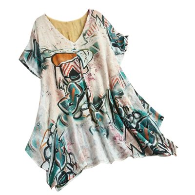 Blouse And Top Plus Size Women Ladies 5xl Short Sleeve Print Loose Blouse Pullover Tops Shirt Elegent Woman Clothing