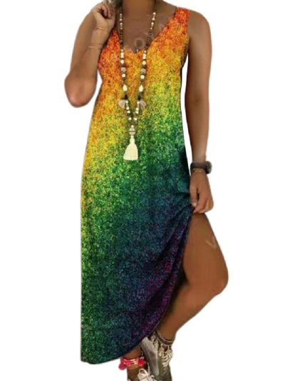 2021 Women Summer Long Dress Casual Printing Sleeveless Vestido Gradient Tie-dye Beachwear Plus Size Clothing 17 Colors