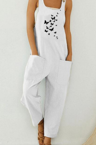 Women Jump Suit Casual Boho Fish Print Oversized Bodysuit Pocket Romper Long Playsuit Strap Button Jumpsuit Dropshipping