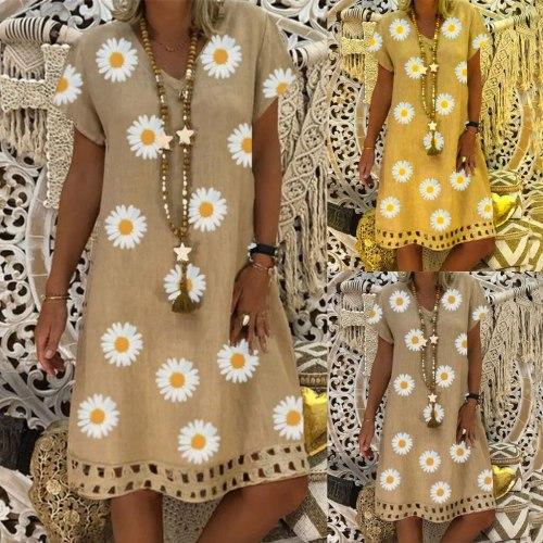 S-5xl Plus Size Dress Summer Women Vintage V-neck Floral Print Dress Short Sleeve Retro Printed Loose Beach Casual Dresses
