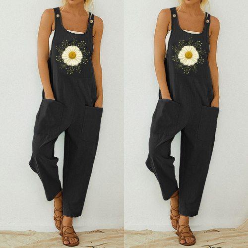 30H Jumpsuit Women Casual Boho Print Bodysuit Pocket Strap Button Women Romper Long Sunflower Print Playsuit Dropshipping