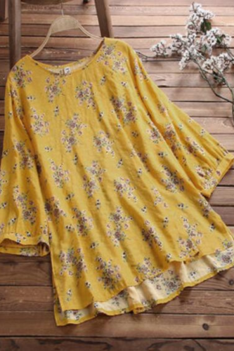 2021 New Design Plus Size Floral Print Blouse Women O-neck 3/4 Sleeve Loose Casual Shirt Womens Tops And Blouses